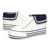China 2014 Fashion Womens High Heeled Platform Sneakers Canvas Shoes White Black High Top Casual Woman Shoes on sale