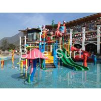 Quality Red / Green Children Water Playground Equipment Spray Fiberglass Water Slide for sale