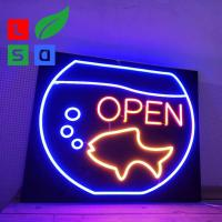 China Custom Led Open Neon Light Signs Wall Mounted With Black Square Backing on sale