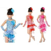 China girl's Latin dance  costume performance dress with hair flower JQ-218 on sale
