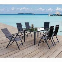 China 7-piece Outdoor Dining Table Set with Aluminum Frame, Tempered Glass and Sling Fabric on sale