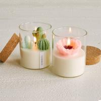 China Custom Artificial Plant Non Toxic Scented Candles Soy Based Candles With Wooden Lid on sale