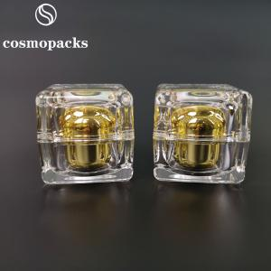 Quality 10g 30g 50g Cube like Gold Acrylic Plastic Square Cream Jars for sale