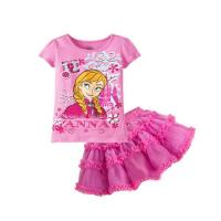 China Pink Baby clothes Suit baby t shirt + baby skirt on sale