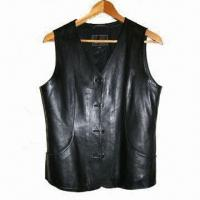 China Men's Leather Vest with Lining, Made of Lamb Skin on sale