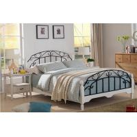 Quality High End Wrought Iron Luxurious Queen Bed , White Metal Frame Double Bed With Mattress for sale