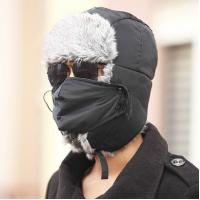 Blue / Grey Warm Hat With Ear Flaps , Fox Fur Outdoor Winter Hats For Men