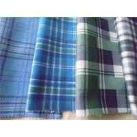 Quality 100% Cotton Plaid Shirting Fabric Yarn Dyed With Flame Retardant Function for sale