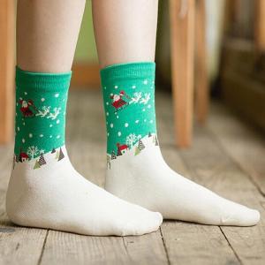 Quality Lovely custom cartoon christmas snowman design cotton socks for sale