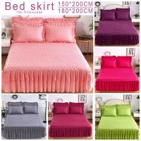 Quality Pink Purple Grey Solid Cotton Single Double Bed Mattress Cover Petticoat hotel bed sheet Queen Bed Bedspread bedding set for sale
