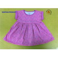Quality 0 - 24M Size Little Girl Summer Dresses Fold Cuff Sleeve Pin Dots Printed Dress for sale