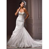 Quality Elegant Beaded Ruffles Mermaid Wedding Gowns Custom Made With Corset Back for sale