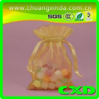 Quality Purple wedding organza gift bags with drawstring printed customized function for sale