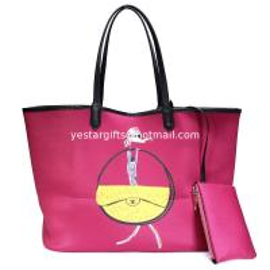 Quality Red Shoulder Neoprene Shopping Bag Bottom Edge Pulling Bone Wrapped , Large Capacity for sale