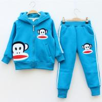 Quality children blue fleece sweater and pants set for sale