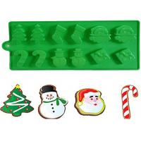 Quality Christmas Tree Silicone Cake Molds With Snowman Santa Of 21.5 * 10 CM for sale