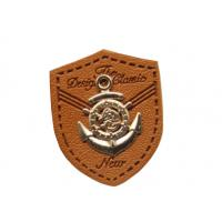 Quality custom leather labels for hats garment leather tags wholesale with metal logo for sale