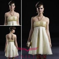 Quality Yellow Halter Ball Evening Dresses, Mini Cute Yellow Ball Dresses for sale