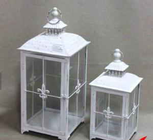 China Vintage Indoor White Lantern Garden Light Wedding Candle Lantern Decoration Yard Standard Lamp Glass Path Lighting on sale