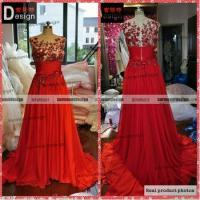Quality Real Picture Red Top Full Beaded Chiffon Zuhair Murad Evening Dresses For Sale for sale