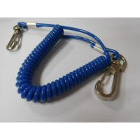 China Solid blue plastic flexible spring string coil bungee lanyard key coil protection for tool on sale