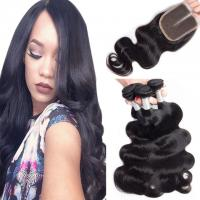 Quality Loose Weave Lace Closure Peruvian Virgin Human Hair Weave With Closure 4X4 for sale