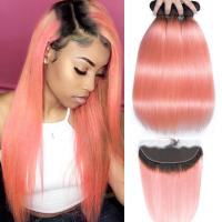 China Pink Front Ombre Human Hair Extensions Silk 10A Grade Tangle / Shedding  Free on sale