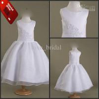 China CUSTOM Made Cute White Ankle Length Ball Gown Flower Girl Dresses Pageant Dress on sale