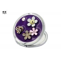 China Flower Engraved Handbag Compact Mirror , Mens Cosmetic Compact Mirror on sale