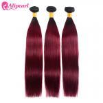 Quality 1B 99j Burgundy Color Silky Straight Human Hair Weave 3 Bundles 8A Quality for sale