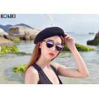 China Painters Winter Wool Hats For Women , White / Black Girls Beret Hat on sale
