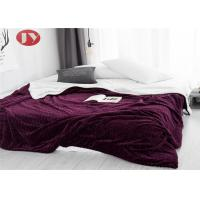 China Bedroom Waving Design Polyester Fleece Blanket Plush Fleece Bed Quilt Wine Red on sale