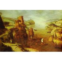 China Reproduction Oil Painting Landscape With Christ Appearing to The Apostles at The Sea of Tiberias. 1553 (219) on sale