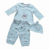 China Baby Clothing 3pcs Set, Consist of Top/T-shirt, Knot Hat and AOP Pant, Made of Cotton Fabric on sale