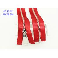 Quality High End High Polished Metal Separating Zipper Red Tape Customized For Coveralls for sale