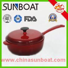 hot sale red color cast iron cookware enamel soup pot with handle