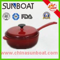 Buy hot sale red color cast iron cookware enamel soup pot with handle at wholesale prices