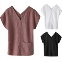 China Multi Colored Women'S Short Sleeve V Neck T Shirts Casual Style Breathable on sale