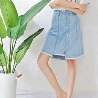 Quality Fashion Ladies Mid Length Denim Skirts , Knee Length Jeans Skirt Breathable for sale