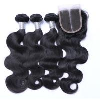 Quality 7A Peruvian Lace Top Closure , Peruvian Body Wave Human Hair Extensions for sale