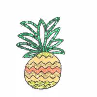 Quality Delicate Sequin Pineapple Patch , Pineapple Sew On Patch Customized Color for sale