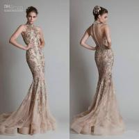 Quality High Neck Sheer Tulle Sequins Evening Dresses / Prom Dress for Party for sale
