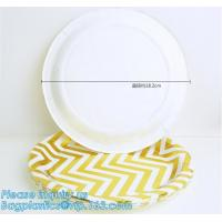 Quality Party supplies, custom printing table rose gold paper biodegradable dinner disposable plate,Compostable Eco Friendly Env for sale