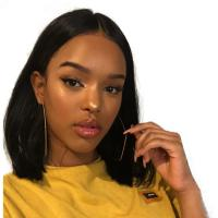 China 10 Inch Short Straight Black Human Hair Lace Front Wigs / Pre Plucked Bob Wigs on sale