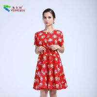 China Retro Style Pattern Red Cotton Dress , Ladies Summer Dresses With Short Sleeves on sale