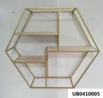Quality Wood Iron Hexagonal Wall Shelf Floating Hexagon Shelf Geometric Shelf For Kitchen Living Room for sale