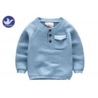 Quality 1/4 Buttons Boys Knit Pullover Sweater Relan Sleeves Chest Pocket Kid Clothes for sale