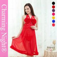 Quality Fur Edge Ruffle Neck Transparent sexy night dresses for girls , sexy nightwear dress for sale