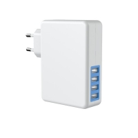 Quality 4 Port ErP 5V4.8A European USB Travel Charger Fireproof PC for sale