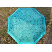 Quality Full Printing Outdoor Compact Auto Umbrella , Blue Mini Travel Umbrella Three Fold for sale